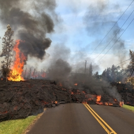 image of lava crossing road