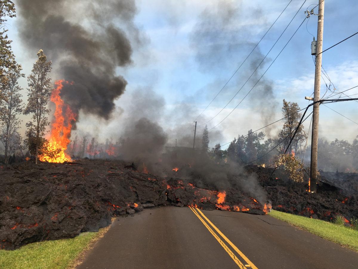 image of lava crossing road