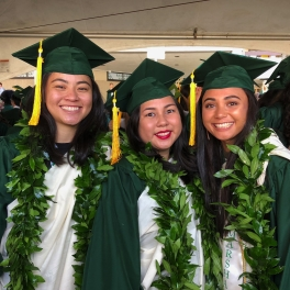 SOEST Maile Mentoring Bridge program graduates wearing kihei.