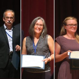 Alexander (Sasha) Krot, Linda Martel and Lydia Hallis receiving their awards from the Meteoritic Society.