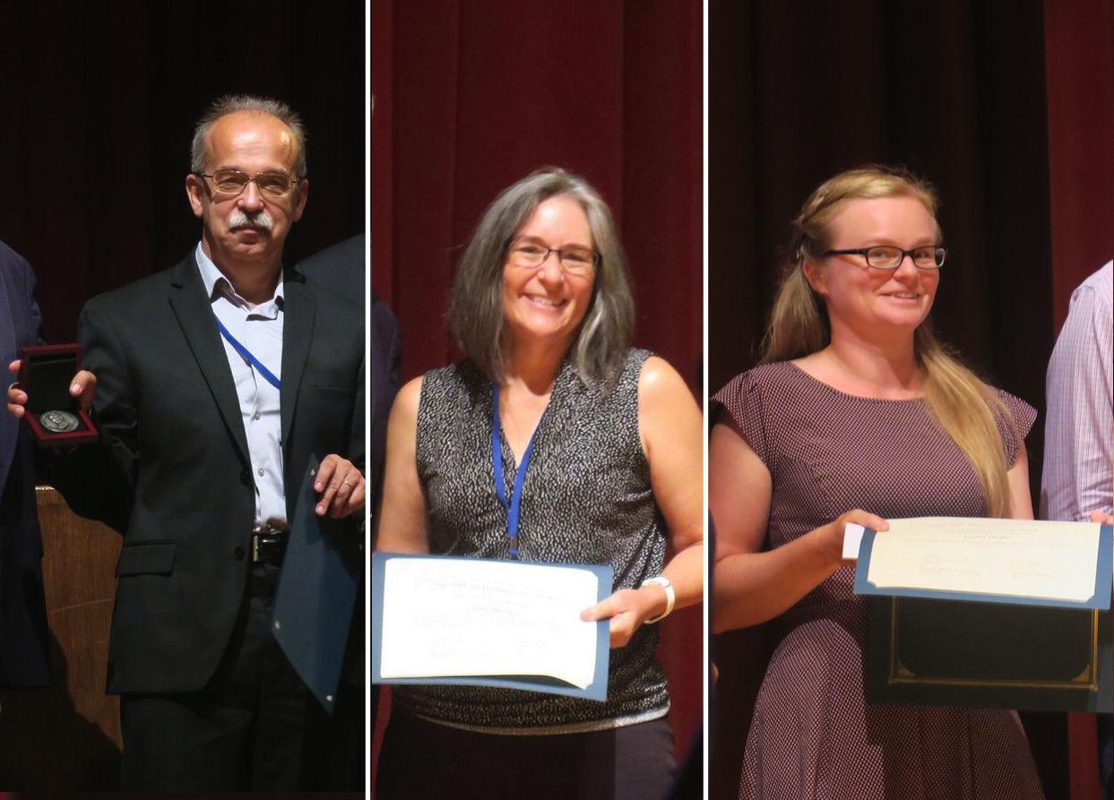 Alexander (Sasha) Krot, Linda Martel and Lydia Hallis receiving their awards from the Meteoritic Society.