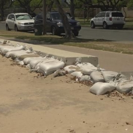 Image of sand bags on the beach