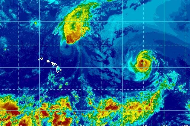 Image of hurricanes and tropical storms near Hawaii