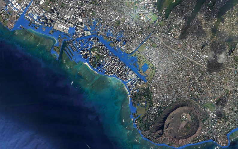 Graphic and satellite photo shows the potential effects of 3.2 feet of sea level rise in the Waikiki area (in blue).