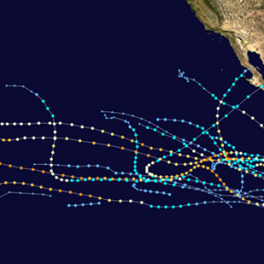 map tracks all of the major 2018 tropical storms that trekked across the Eastern Pacific