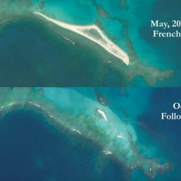 "Satellite ""before and after"" composite image of East Island, formerly the second-largest islet in French Frigate Shoals, courtesy of Chip Fletcher."