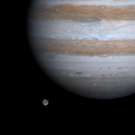 Ganymede alongside Jupiter, image from NASA's Cassini spacecraft. Credit: NASA/JPL/University of Arizona.