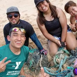 Andrew Tokuda at a beach cleanup on Molokaʻi.