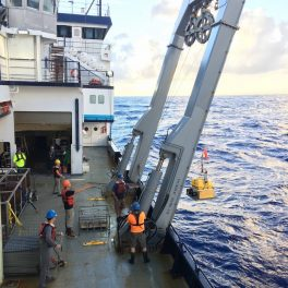 Ocean bottom seismograph deployment on western transect. Credit: Donna Shillington, LDEO.