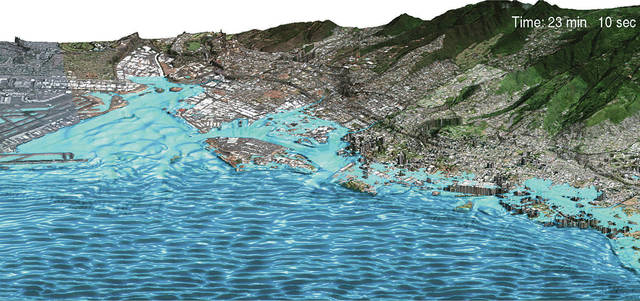 A hurricane model shows the effect of sea-level rise on flooding.