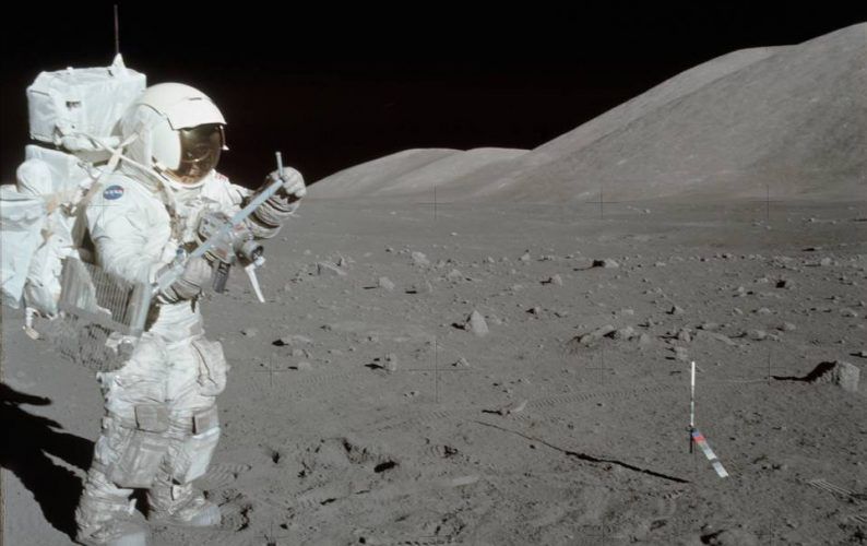 11 December 1972 -- Scientist-astronaut Harrison H. Schmitt collects lunar rake samples at Station 1 during the first Apollo 17 extravehicular activity (EVA) at the Taurus-Littrow landing site. Schmitt is the lunar module pilot. The Lunar Rake, an Apollo Lunar Geology Hand Tool, is used to collect discrete samples of rocks and rock chips ranging in size from one-half inch (1.3 cm) to one inch (2.5 cm). Credits: Eugene A. Cernan, Apollo 17 Commander