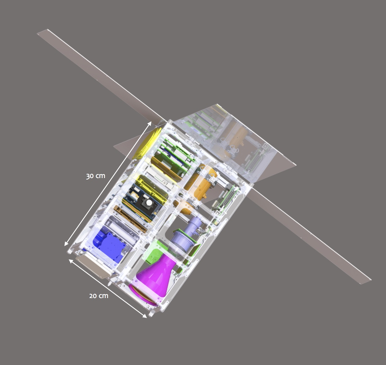 Schematic of the HyTI nanosatellite. Credit: HyTI, UH Mānoa.