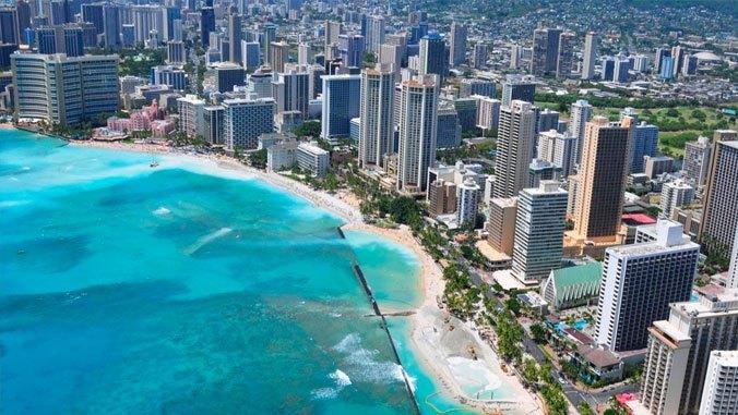 Aerial view of Waikīkī and Waikīkī Beach.
