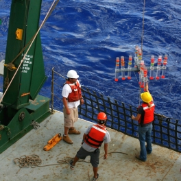Hawaii Ocean Time-series researchers collect ocean particles that settle through the water column