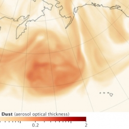 Asian dust transport over N Pacific. Credit: NASA; Robert Simmon, Arlindo da Silva, Peter Colarco.