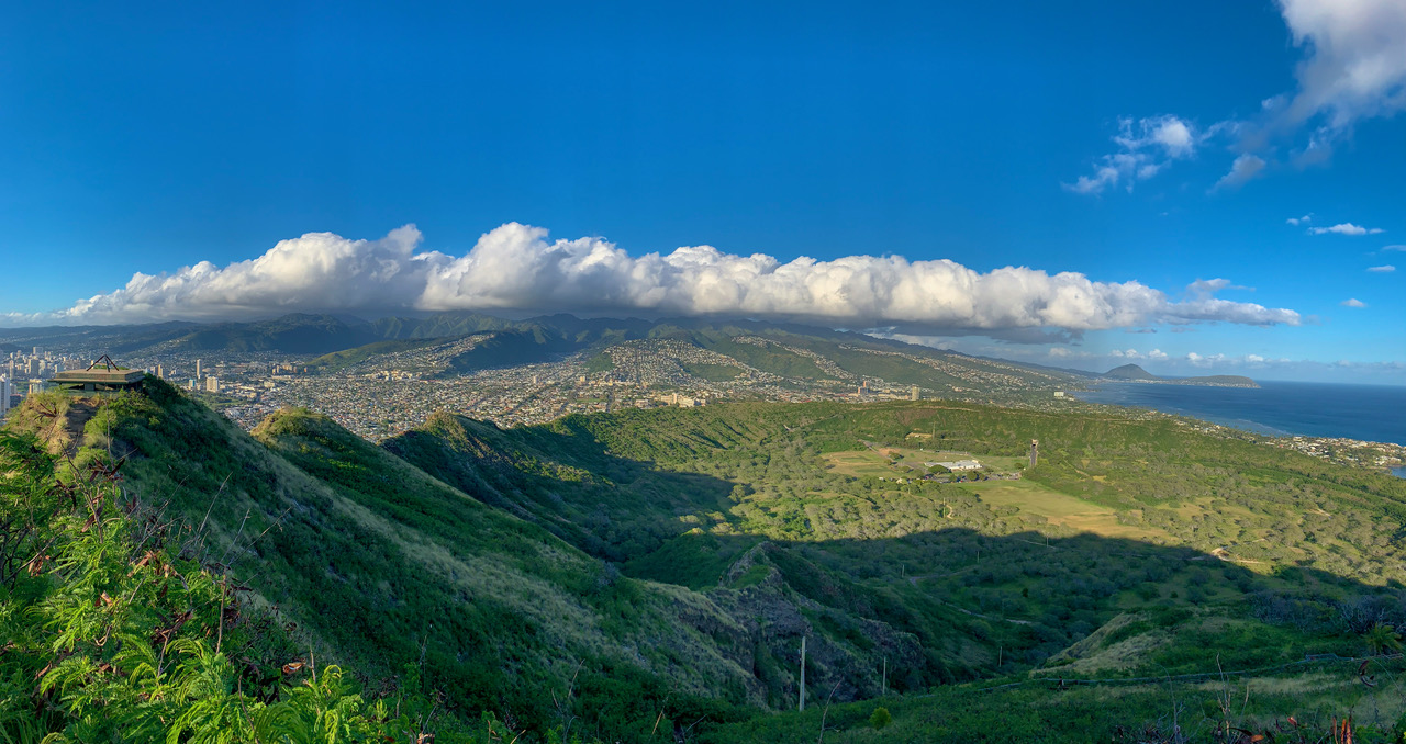 Clouds over mountains of Oahu.