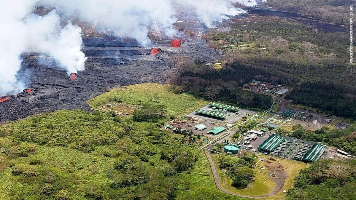 Puna Geothermal Venture, Hawaii's only geothermal power plant has been closed since a lava flow from the 2018 Kilauea eruption threatened the facility. The operator plans to reopen the plant, which provided 25 percent of Hawaii Island's power prior to closure. Credit: Hawaii County Civil Defense.