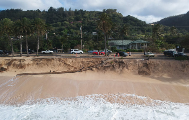 Image of beach erosion at Sunset Beach on the north shore of O'ahu.