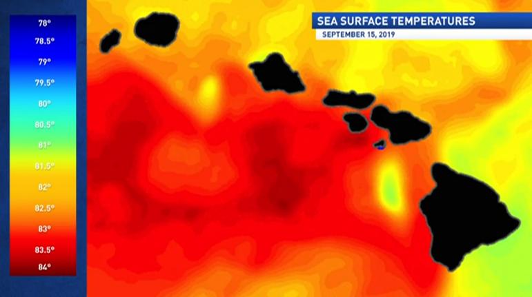 Image of sea surface temperatures around Hawaiian Islands on 09-19-19.