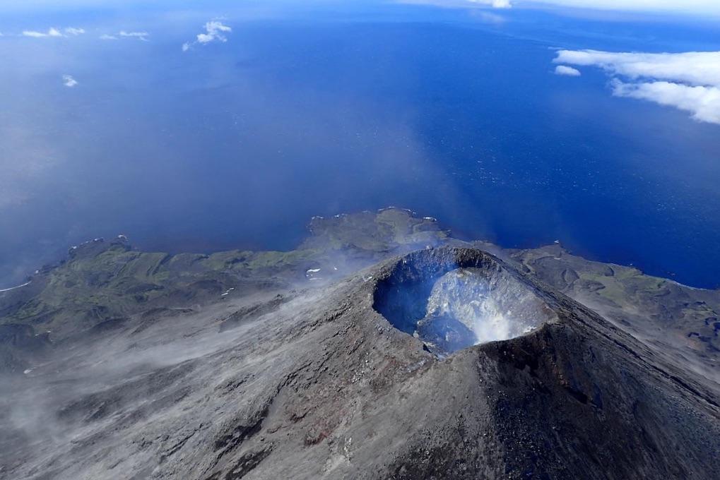Summit of Cleveland volcano in Alaska's central Aleutian Islands. Credit: Cindy Werner, Alaska Volcano Observatory.