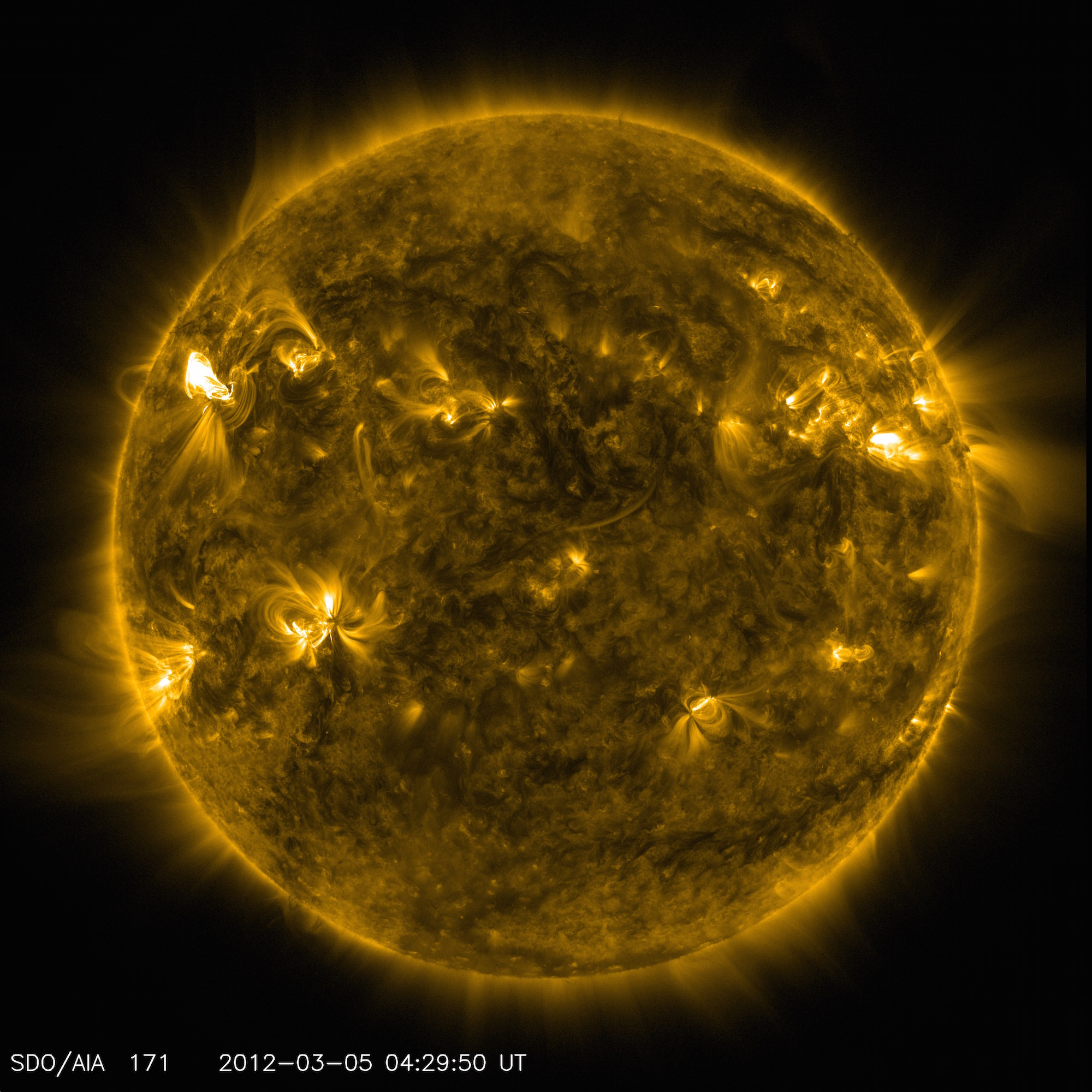 An image of active regions on the Sun from NASA's Solar Dynamics Observatory. The glowing hot gas traces out the twists and loops of the Sun's magnetic field lines. Image credit: NASA/SDO/AIA