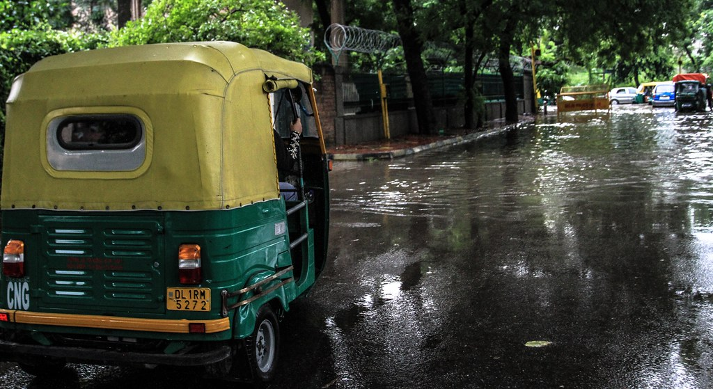 A flooded street in India during monsoon rains. Credit: Carol Mitchell CC BY-NC-ND 2.0