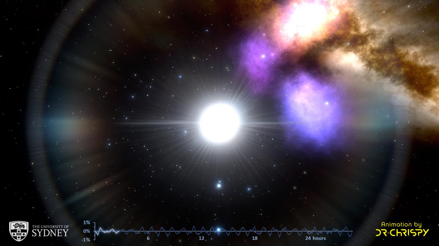 Still image from a simulation of pulsations in the delta Scuti variable star called HD 31901.