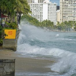 Waves crash on the Waikiki shoreline of O'ahu, Hawaii during a high tide. Hawaii Sea Grant King Tides Project, 2017.