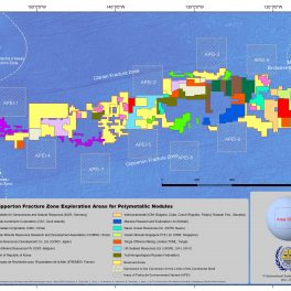 Map of the Clarion Clipperton Zone in the Pacific Ocean showing color blocks of exploration areas.
