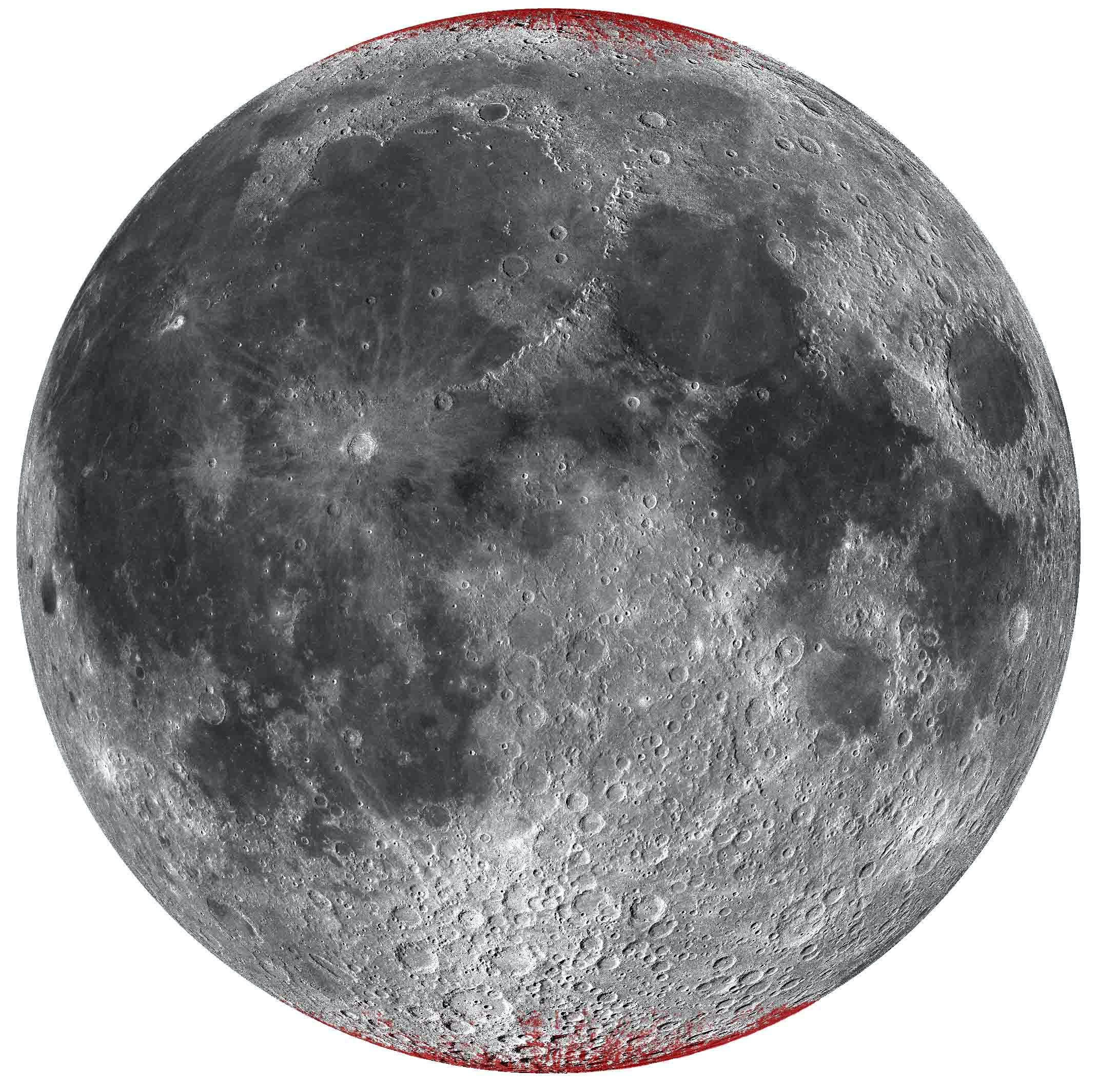 Enhanced map of hematite (red color near poles) on Moon using a spheric projection, nearside only.