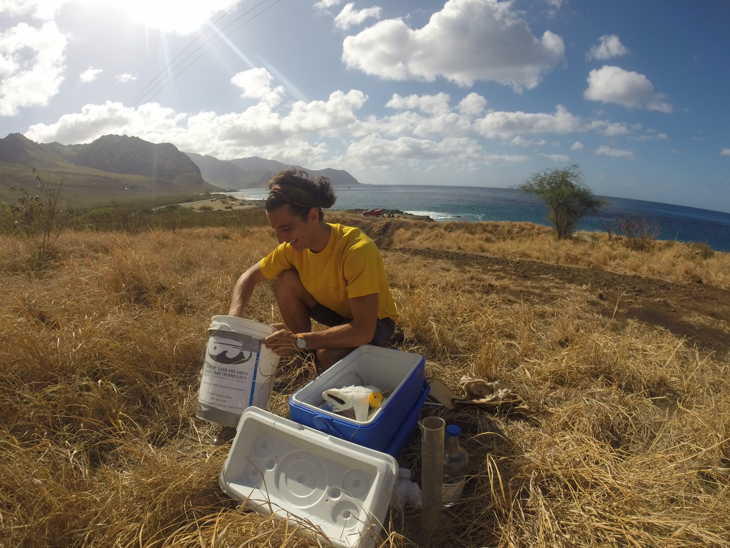 Daniel Dores, lead author, preparing rainfall collection equipment, West O'ahu.