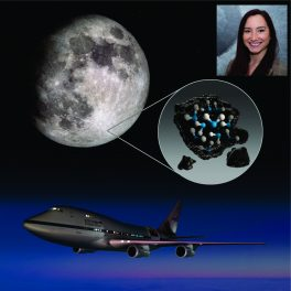 Casey Honniball (inset); Moon's microscopic particles with water molecules; SOFIA, a modified Boeing 747SP jetliner.