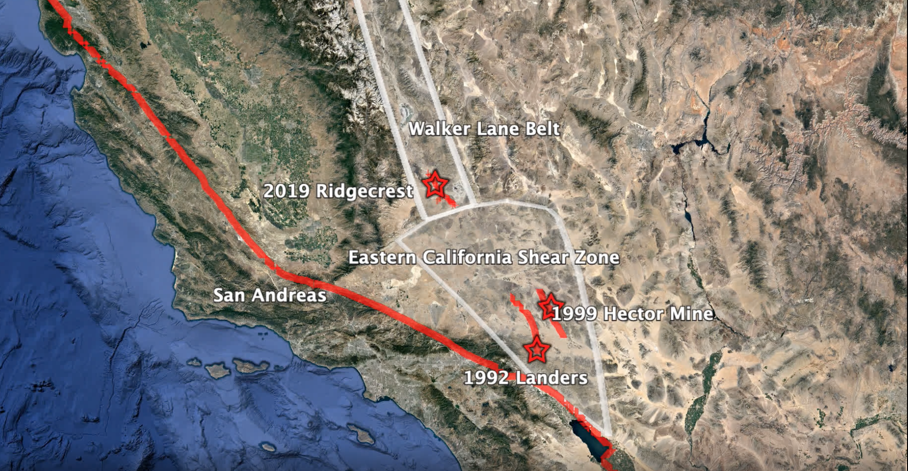Location of the 2019 Ridgecrest earthquake, in the San Andreas Fault area of California.
