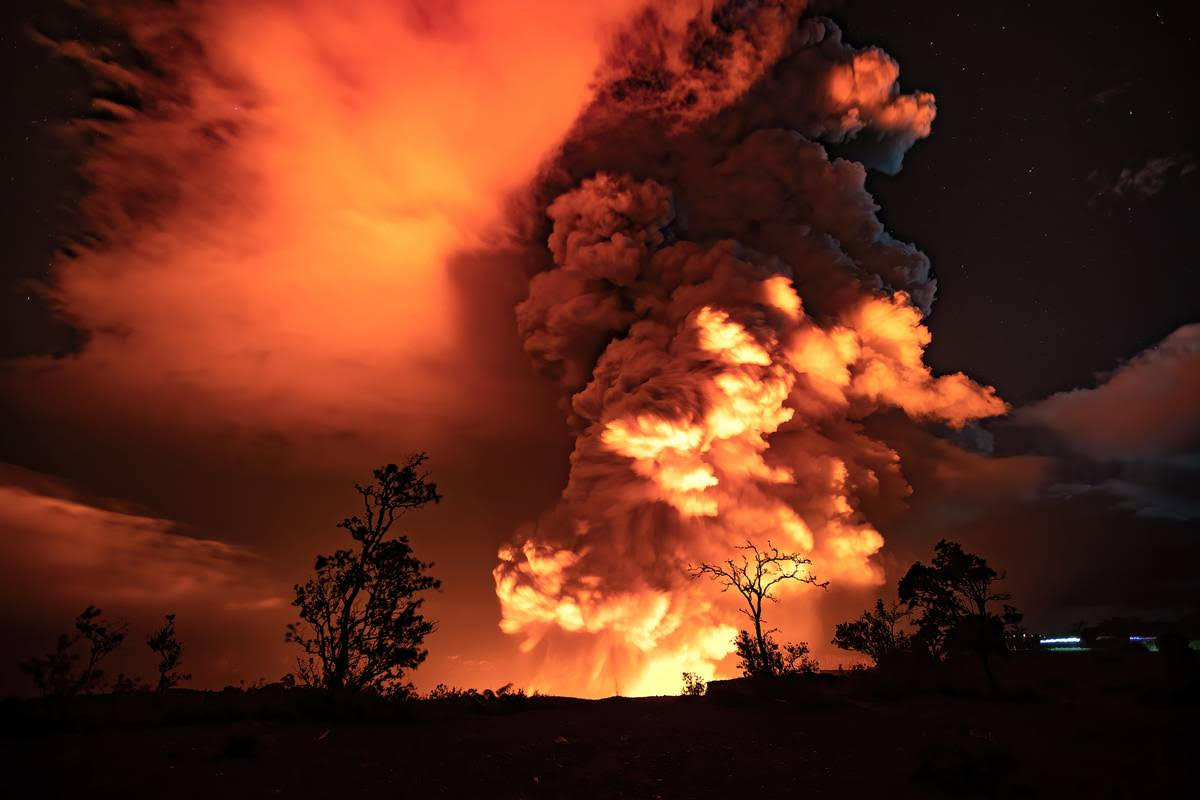 Kilauea eruption in December 2020 produced large plumes of gas