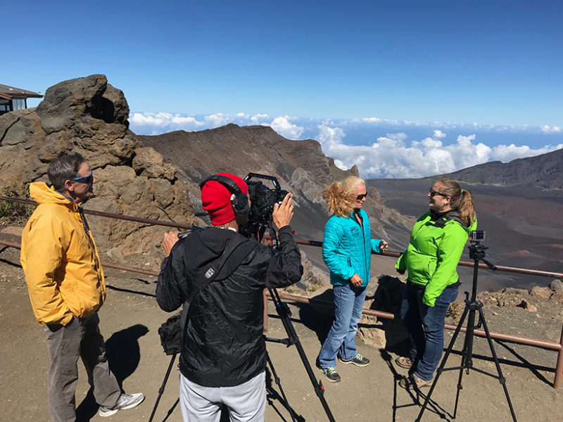 "The Voice of the Sea crew films the episode ""Climate from the Mountains to the Past"" on watershed science in the cloud forest at Haleakalā National Park, Maui, Hawaii."