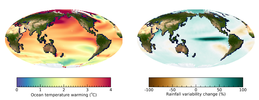Global ocean warming pattern and change in year-to-year rainfall variability. (Left) Predicted change of ocean surface temperature in 2050-2099 relative to 1950-1999 using an ensemble of climate models. (Right) Predicted change in amplitude of rainfall fluctuations (year-to-year standard deviation) in 2050-2099 relative to 1950-1999.