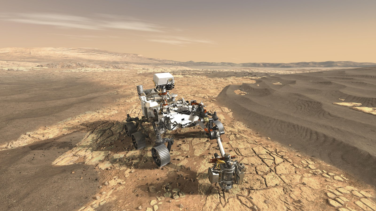 Artist's concept depicts NASA's Mars 2020 rover on the surface of Mars.