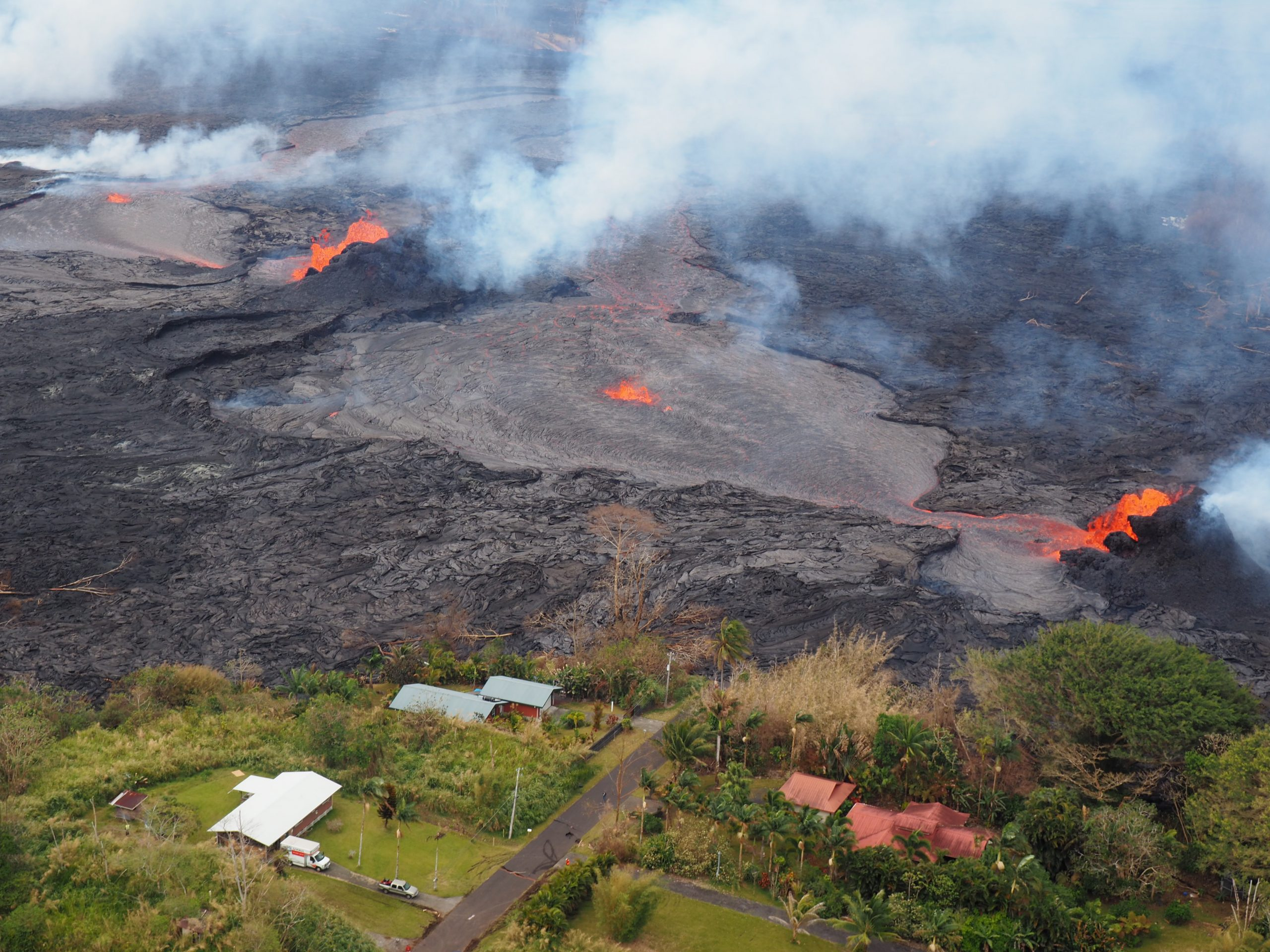 Lava flowed near and around homes during the 2018 Kilauea eruption