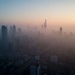 City skyline with cloudy, polluted air