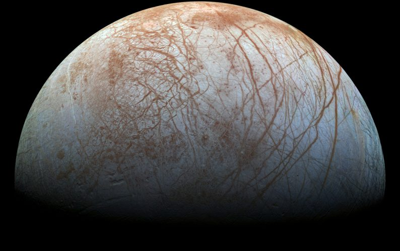 Surface of Jupiter's icy moon Europa made from images taken by NASA's Galileo spacecraft in the late 1990s.