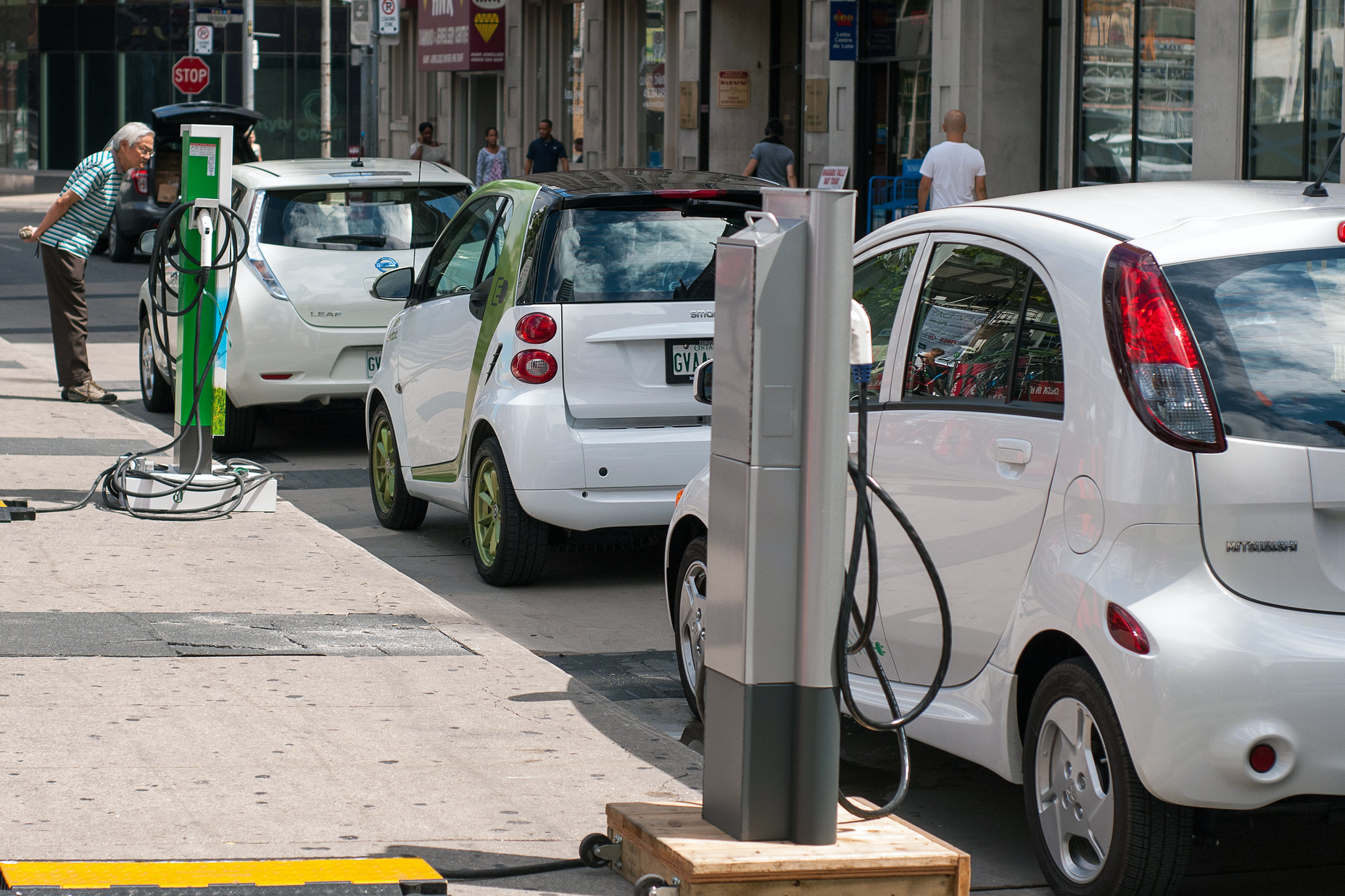Electric vehicles at charging stations