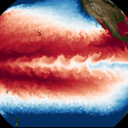 Ocean temperature (blue=cold, red=warm) simulated at ultra-high resolution.
