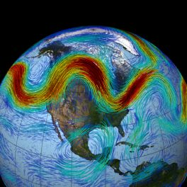 In this visualization, which uses weather and climate observations from NASA's MERRA dataset, the Northern Hemisphere's polar jet stream is seen as a meandering, fast-moving belt of westerly winds that traverses the lower layers of the atmosphere.