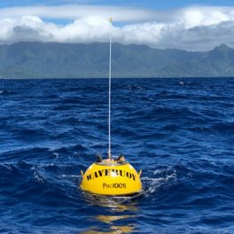 To collect real-time wave data, PacIOOS owns and operates a network of 15 wave buoys throughout the Pacific Islands region.